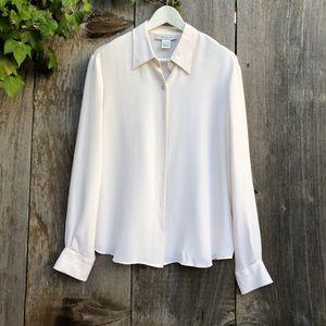 GRACE Chemise ivory silk button down shirt C16